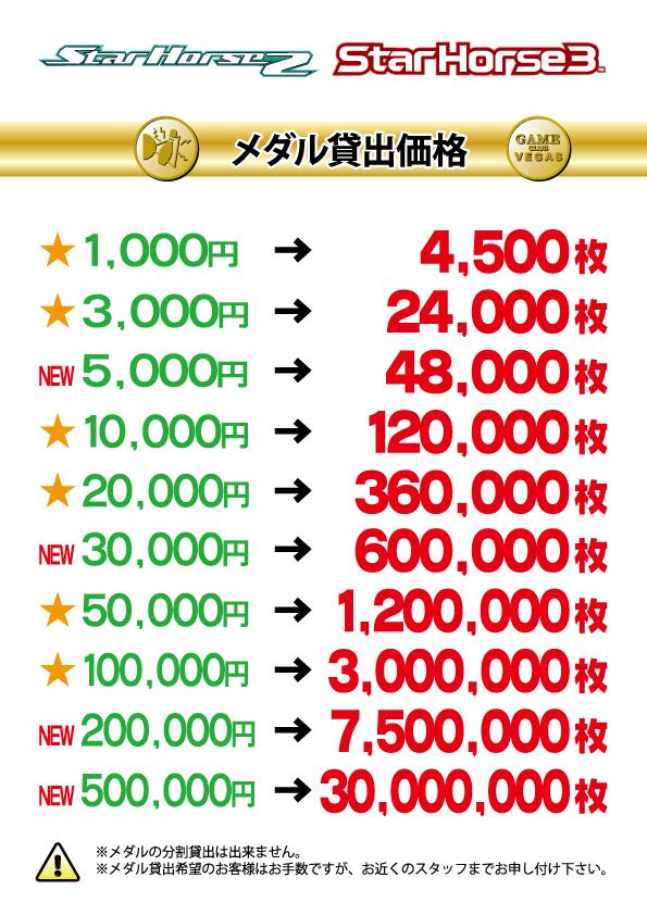 泉_メダル貸出価格表